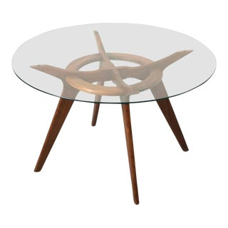 1960s Mid-Century Modern Adrian Pearsall Walnut and Glass Dining Table For Sale