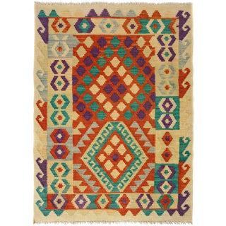 Kilim Arya Sarielle Rust/Teal Wool Rug -2'10 X 4'0 For Sale
