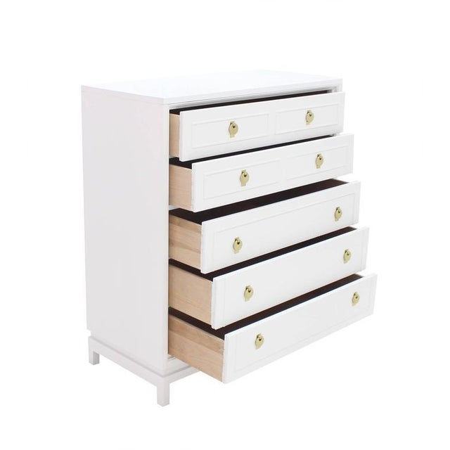 Early 20th Century White Lacquer High Chest with Brass Pulls For Sale - Image 5 of 7