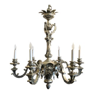 Antique French Superb Quality Louis XIV Style Silver on Bronze Chandelier, Circa 1850-1860.