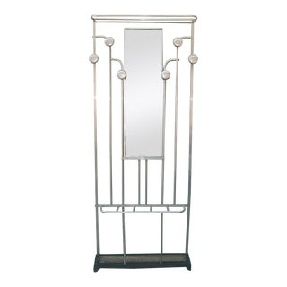 1930s-40s French Aluminum Coat Rack/Hall Tree, 6 Hooks, Umbrella Stand, Mirror For Sale
