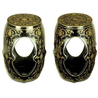 Pair of Lacquered and Parcel-Gilt Carved Wood Chinese Garden Seats For Sale