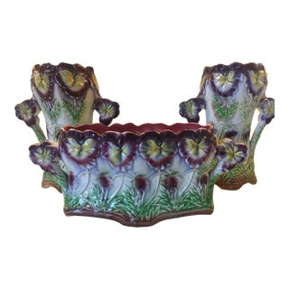 1900s French Enameled 3 Piece Garniture Set For Sale