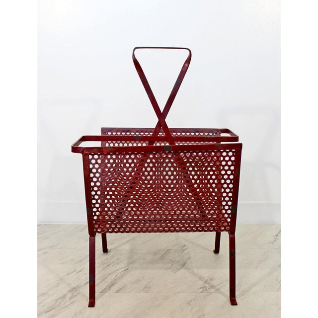 Mid-Century Modern Mid-Century Modern Vintage Red Wire Mesh Magazine Rack For Sale - Image 3 of 8