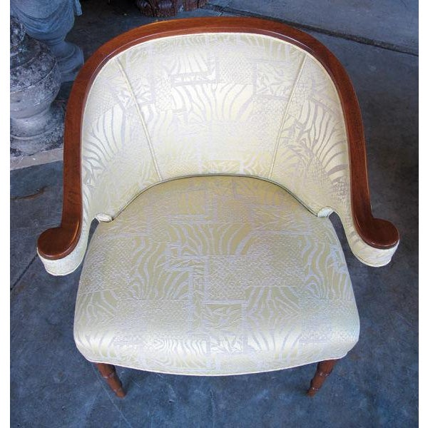 1940s A Shapely Pair of English Regency-Inspired Mahogany Salon Chairs For Sale - Image 5 of 6