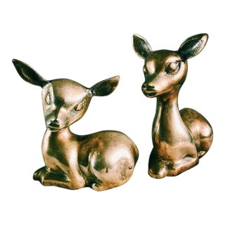Vintage Large Brass Kneeling Deer/Fawn Figurines - a Pair For Sale