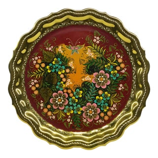 Gold Plate Hand Painted Serving Tray Bohemian