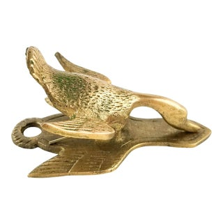 Mid Century Vintage Goose Duck Bird Brass Paper Clip Paper Weight Figurine For Sale