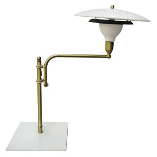 Art Deco Swing-Arm Desk Lamp With Saucer Shade For Sale