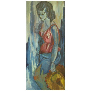 Blue Woman with Hat Oil on Canvas by B. Maltz For Sale