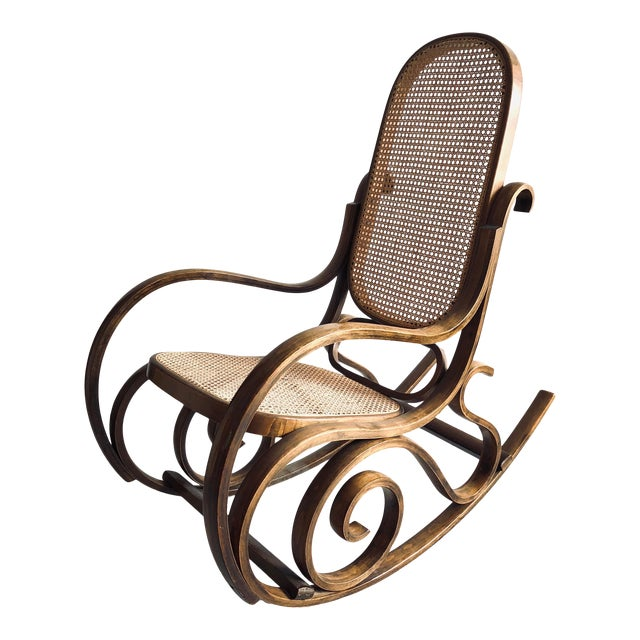 Bentwood and Caned Rocking Chair Thonet Style For Sale