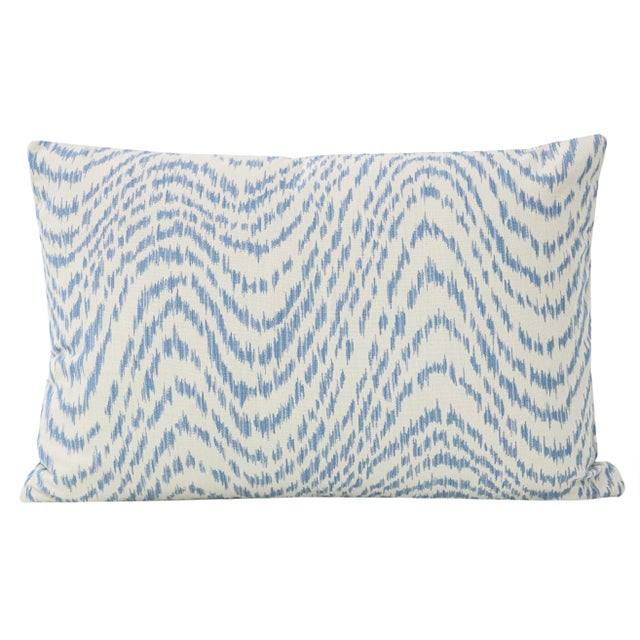 Pair of custom-made pillows in Woven Flamestitch in the chambray colorway. Same sided with pattern on the front and back....