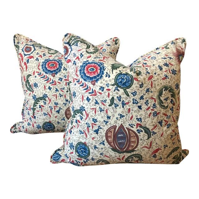 "Pierre Frey Braquenie ""Fleurs Enchantees"" Feather Down Pillows - A Pair For Sale"