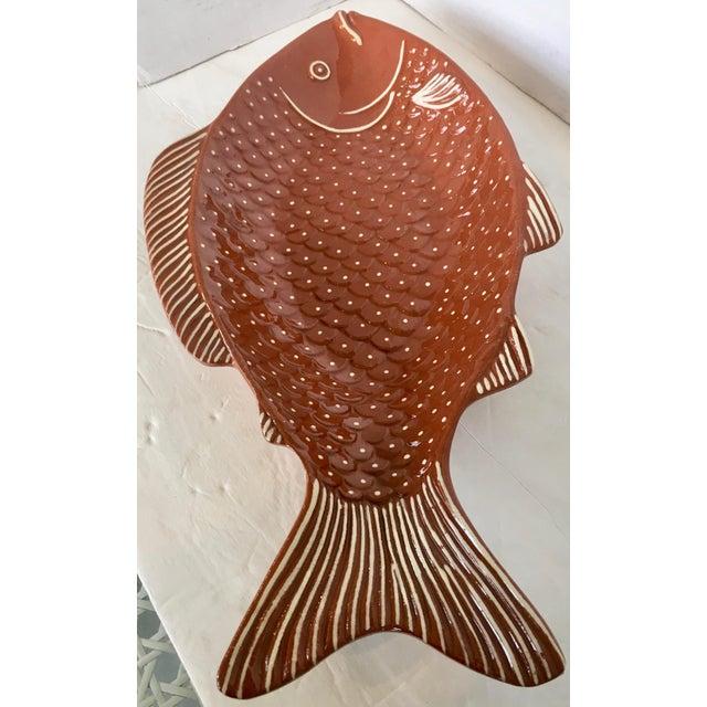 Ceramic Vintage Rust Color Fish Platter For Sale - Image 7 of 9
