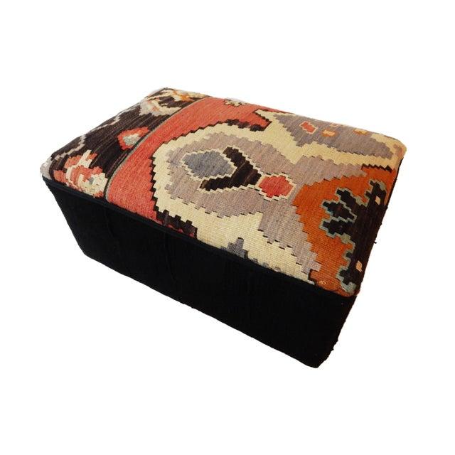 Boho Chic Tribal Kilim Rug & Mud Cloth Ottoman For Sale - Image 3 of 9