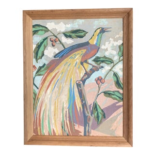 Mid Century Paint by Numbers Peacock/Bird of Paradise Painting For Sale