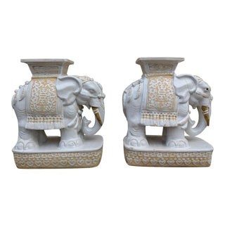 Mid-Century Modern White Porcelain Elephant Garden Stools - a Pair For Sale