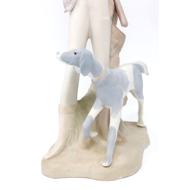 Ceramic Vintage Tall Hunting Girl With Dog Figurine by Porceval For Sale - Image 7 of 11