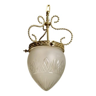 1920s French Brass and Etched Glass Hanging Lantern or Pendant For Sale