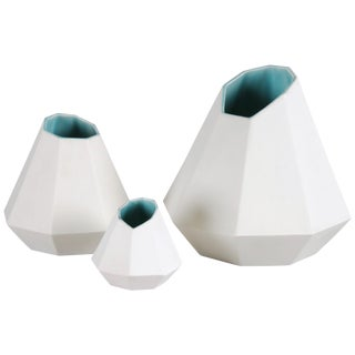 Porcelain Collection, Set of Three Geometric Porcelain Vases by Topher Gent For Sale