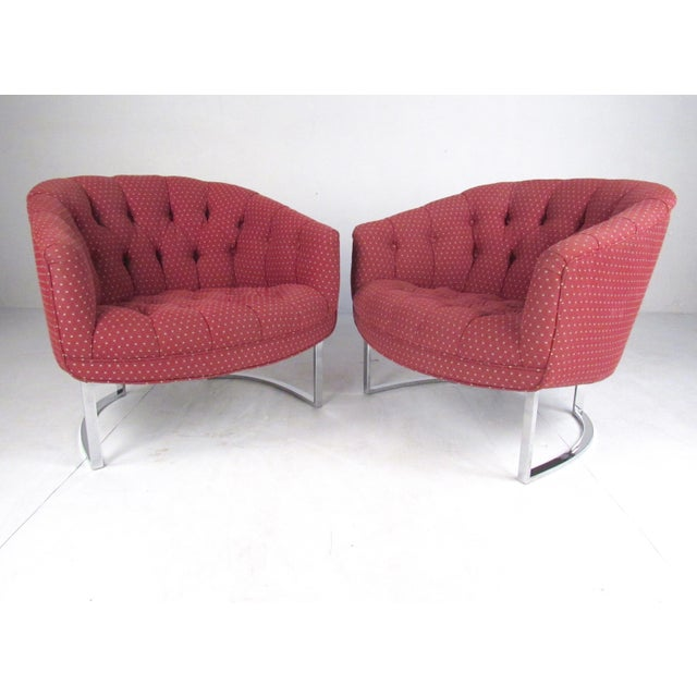Pair Vintage Modern Barrel Back Club Chairs For Sale - Image 13 of 13