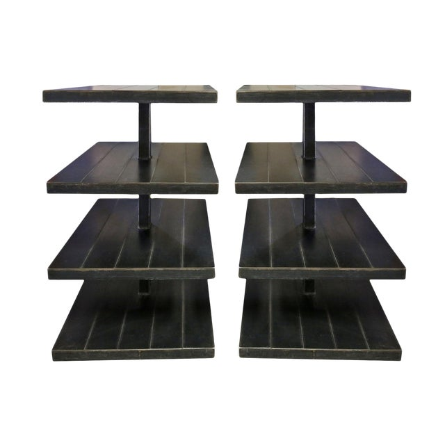 Black Metal Shelves - A Pair For Sale