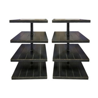 Late 20th Century Modern Black Metal Rolling Shelves - a Pair For Sale