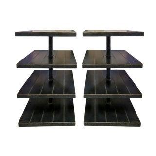 Shelves - Black Metal - a Pair For Sale