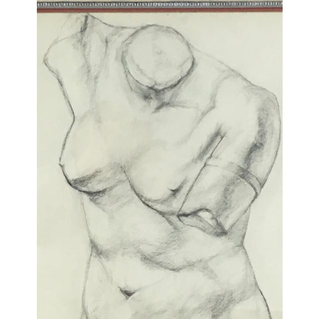 Figurative Academy Style Charcoal on Paper Nude Study, 1951 For Sale - Image 3 of 8