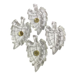 RCR Lead Crystal Mini Trinket Leaf Dish - Set of 4 For Sale