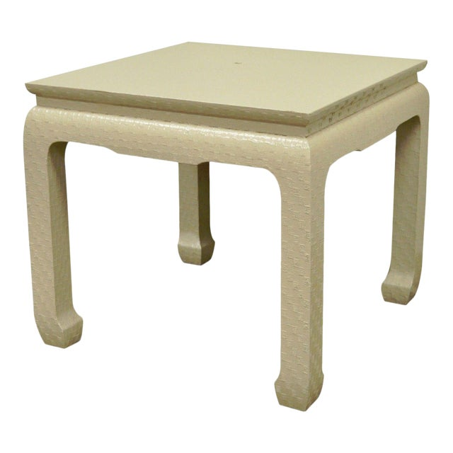 Vintage Baker Asian Lacquered Grasscloth Occasional Side Accent Table James Mont For Sale