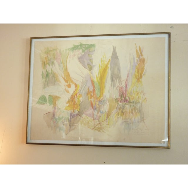 Mid-Century Modern Mid-Century Abstract Watercolor Painting For Sale - Image 3 of 6