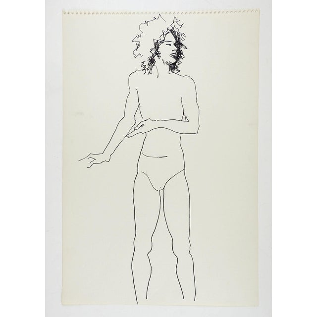Pen and ink drawing on paper of male study by Marilyn Lanfear (1930-2020) Texas. Unsigned. Unframed, directly from the...