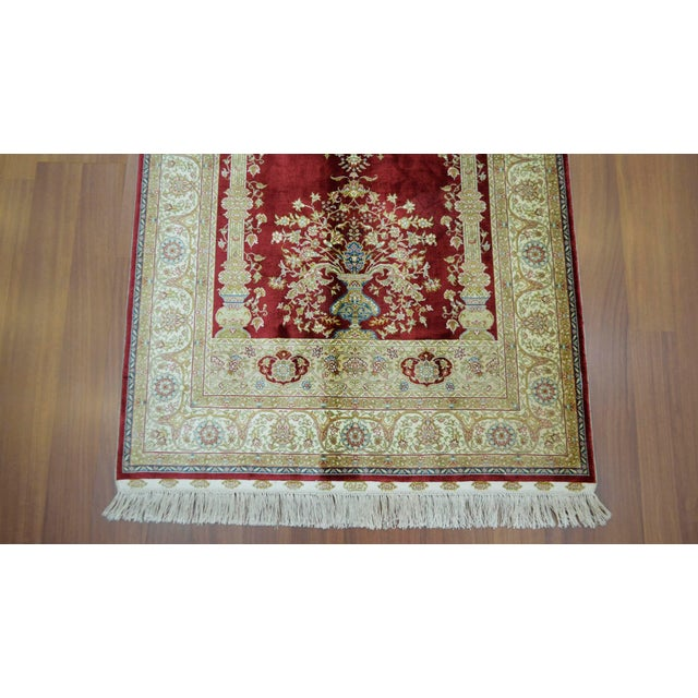 Hand Knotted Turkish Silk Rug - 3′1″ × 4′5″ - Image 7 of 9