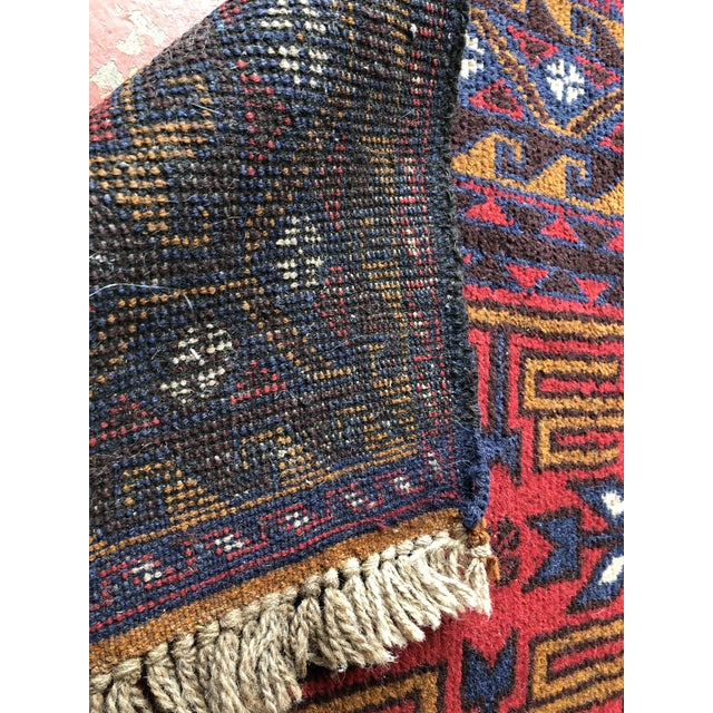 Red Antique Handmade Tribal Rug For Sale - Image 8 of 9
