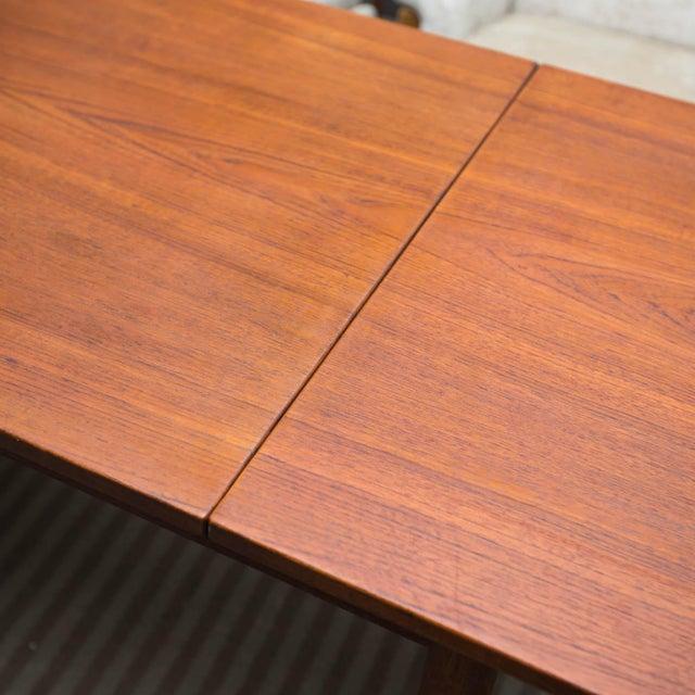 Arne Vodder Style Single Pedestal Drop-Leaf Teak Desk For Sale - Image 9 of 10