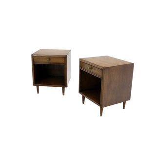 Pair of Johnson Mid-Century Modern Walnut Night Stands For Sale