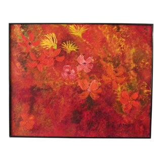 1970s Modernist Style Abstract Botanical Oil Painting, Framed For Sale