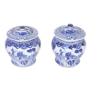 Chinese Blue and White Porcelain Lidded Pots - a Pair For Sale