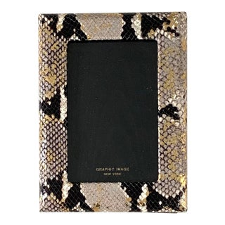 Graphic Image Gilt Leather Frame With Snakeskin Pattern for 4x6 Pictures For Sale