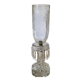 Antique Irish Crystal Candlestick & Hurricane For Sale