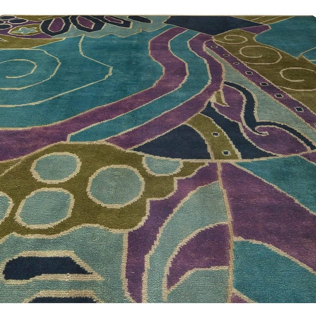 Art Deco Bold Vintage French Art Deco Rug For Sale - Image 3 of 8