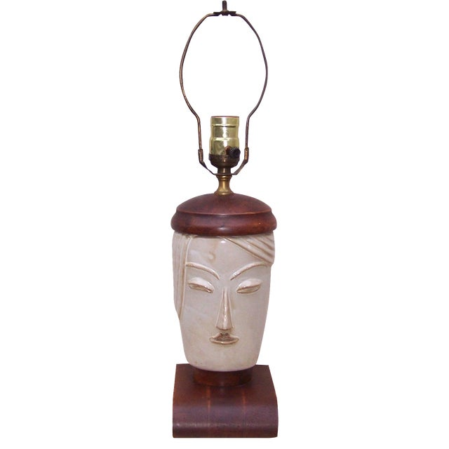Vintage Art Deco Small Cubist Ceramic & Wood Lamp - Image 1 of 7