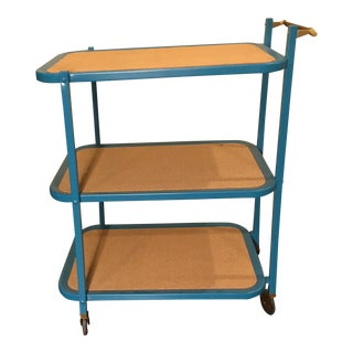 1960s Vintage Metal Rolling Cart For Sale