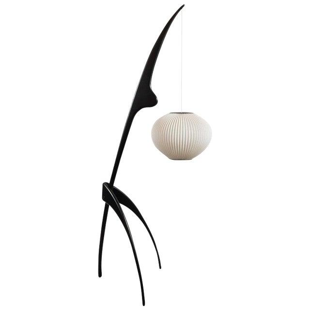 "Mid-Century Modern ""Praying Mantis"" Ebonized Walnut Floor Lamp by Jean Rispal For Sale"