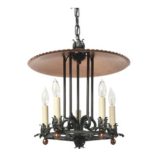 Copper and Verdigris Five Light Open Lantern For Sale