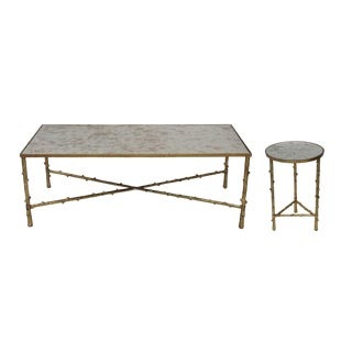 Contemporary Glostrup Coffee & Side Table Combo Set, Mirrored Top, Accent Home Furniture, Living Room, Gold Leafing Finish For Sale