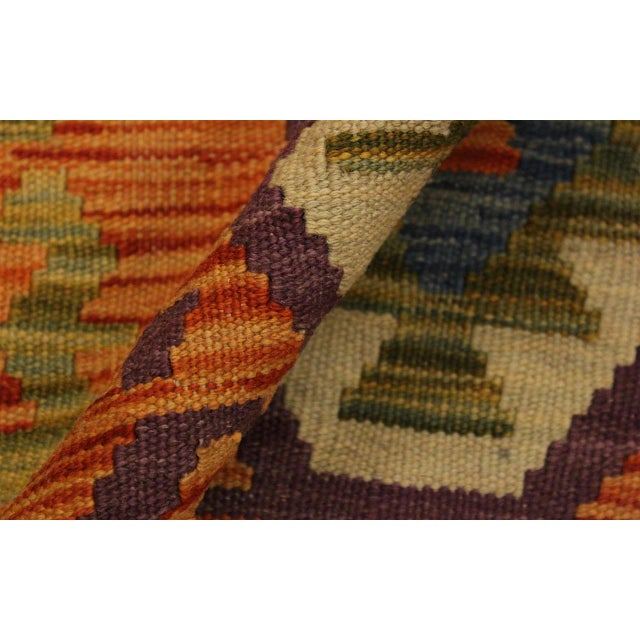 Edie Rust/Ivory Hand-Woven Kilim Wool Rug -4'2 X 5'9 For Sale - Image 4 of 8
