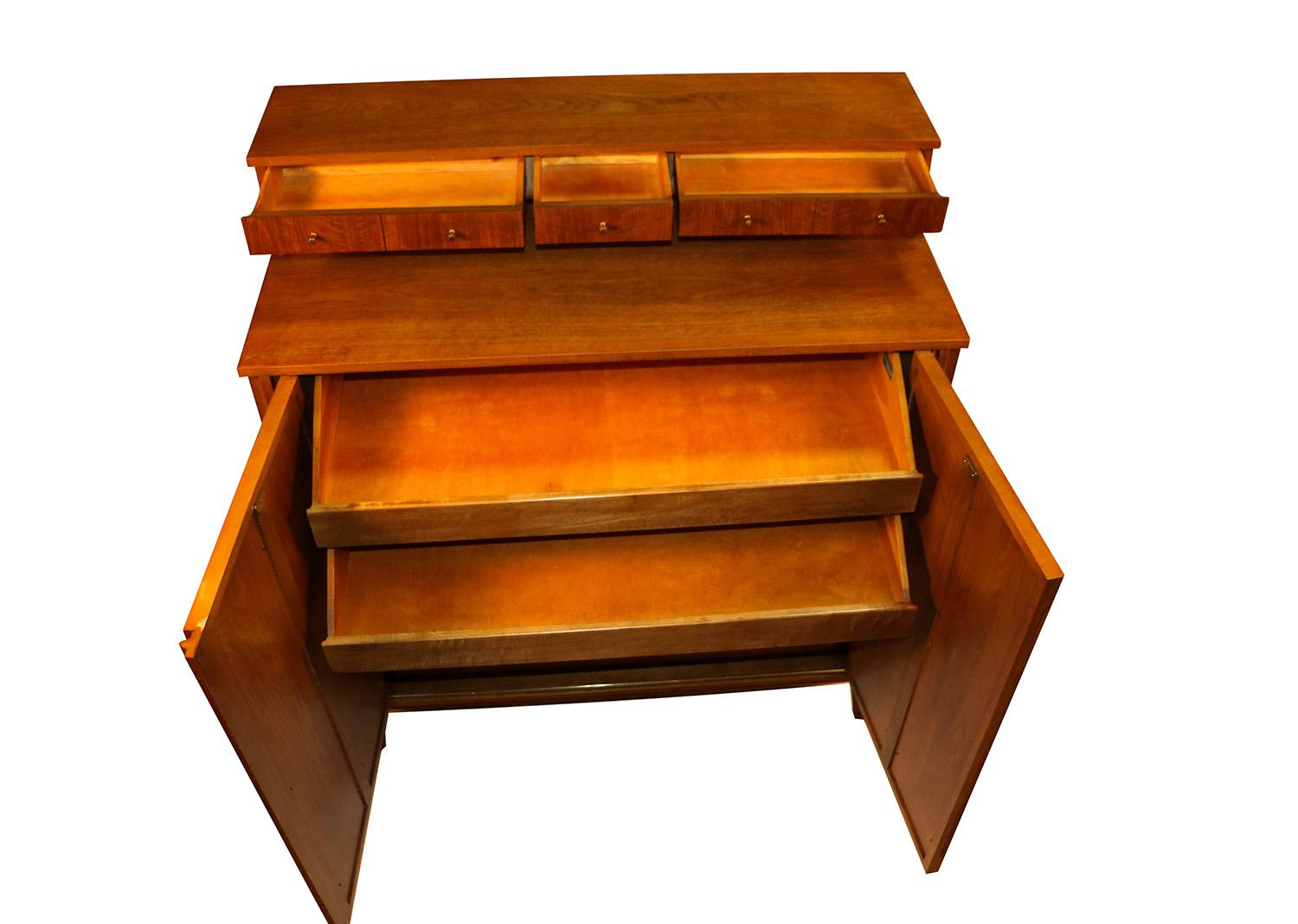 West Michigan Furniture Company Mid Century Modern Bar Cabinet Highboy  Dresser   Image 4 Of 11
