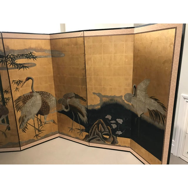 18th Century Japanese Byobu Hand Painted Cranes Watercolor Gold Leaf on Paper For Sale - Image 4 of 8
